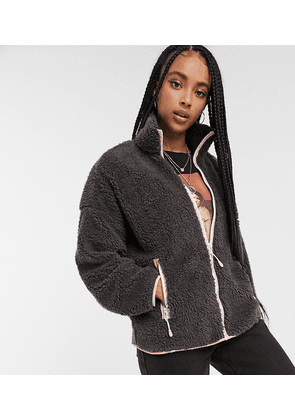 Monki fleece jacket in grey