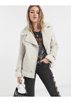 Bershka shearling aviator coat in ecru-White