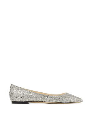 ROMY FLAT Champagne Course Glitter Fabric Pointed Flats