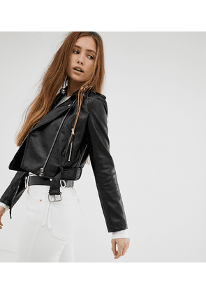 Bershka cropped faux leather biker jacket in black