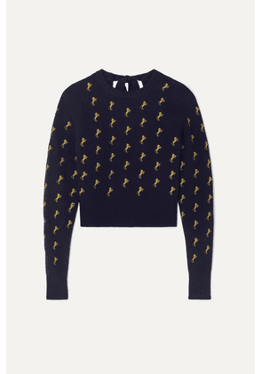 Chloé - Embroidered Wool-blend Sweater - Navy