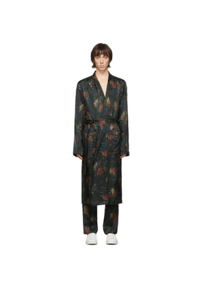Dries Van Noten Multicolor Satin Floral Robe