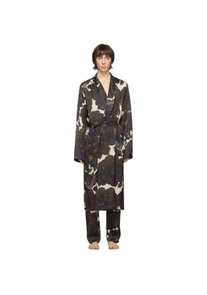Dries Van Noten Off-White and Black Satin Floral Robe