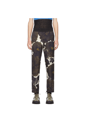 Dries Van Noten Off-White and Green Perons Trousers
