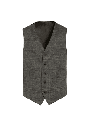 Grey Prince-of-Wales Check Wool-Flannel Waistcoat