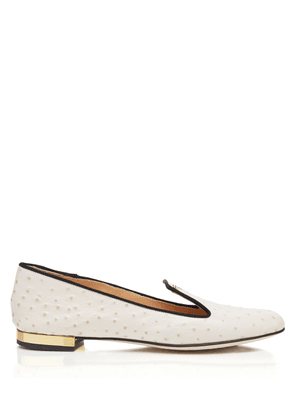Charlotte Olympia Flats Women - SANDRA OFF WHITE Printed Ostrich Calfskin 36