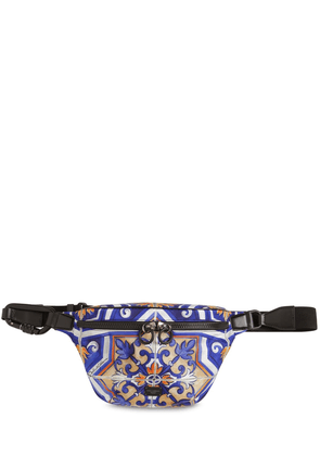 Maiolica Print Nylon & Leather Belt Bag
