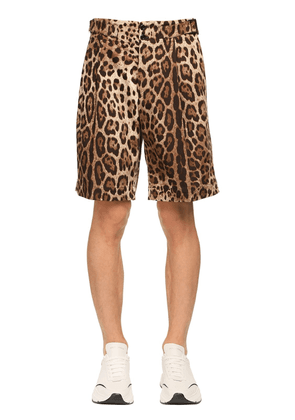 Leopard Print Stretch Drill Cotton Short