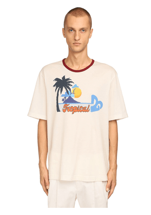 Dg Tropical Print Cotton Jersey T-shirt