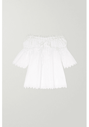 Charo Ruiz Kids - Campana Off-the-shoulder Crocheted Lace-paneled Cotton-blend Dress - White
