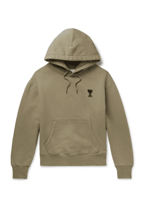 AMI - Logo-embroidered Fleece-back Cotton-jersey Hoodie - Green