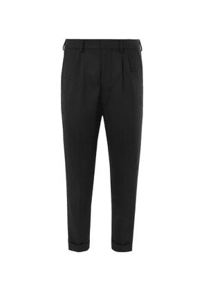 AMI - Black Cropped Tapered Pleated Flannel Trousers - Black