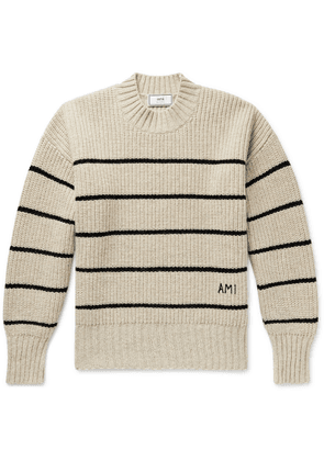 AMI - Oversized Logo-embroidered Striped Virgin Wool Sweater - Neutrals