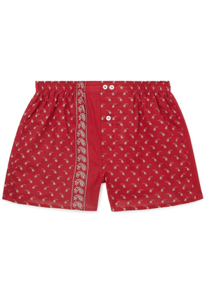 Anonymous Ism - Paisley-print Cotton Boxer Shorts - Red