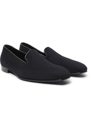 Anderson & Sheppard - + George Cleverley Leather-trimmed Cashmere Slippers - Blue