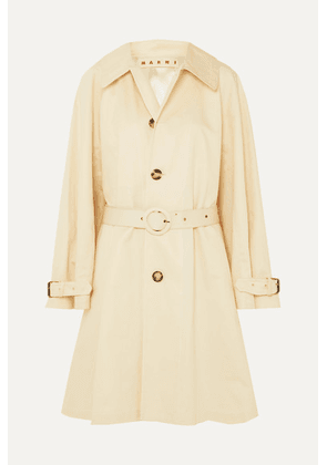 Marni - Belted Cotton And Linen-blend Canvas Coat - White