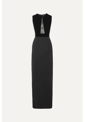Givenchy - Lace-paneled Velvet And Crepe Gown - Black