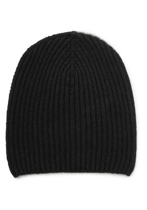 Begg & Co - Colour-block Ribbed Cashmere Beanie - Black