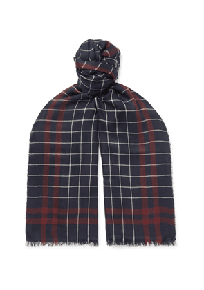 Begg & Co - Magellan Fringed Checked Cashmere And Silk-blend Scarf - Blue