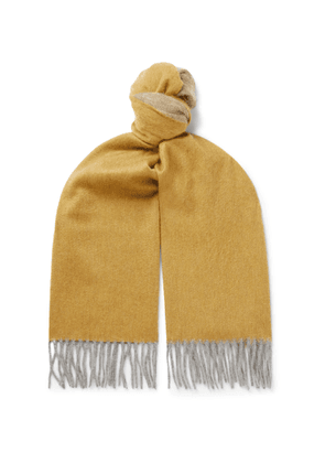 Begg & Co - Arran Fringed Cashmere Scarf - Yellow