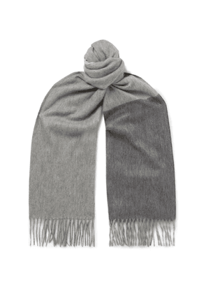 Begg & Co - Arran Fringed Cashmere Scarf - Gray