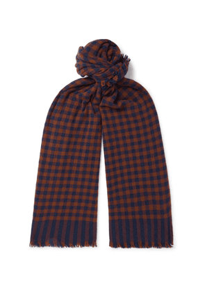 Begg & Co - Beaufort Fringed Checked Wool And Cashmere-blend Scarf - Blue