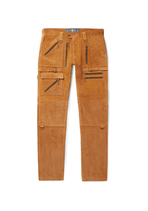 Blackmeans - Slim-fit Suede Trousers - Brown