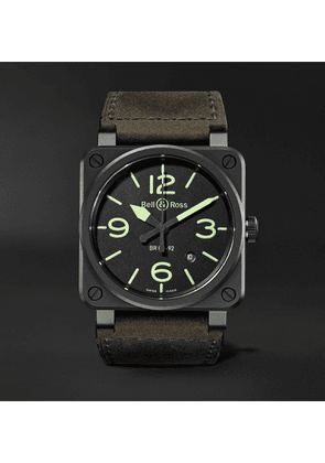 Bell & Ross - BR03-92 Nightlum Automatic 42mm Ceramic and Leather Watch - Men - Black