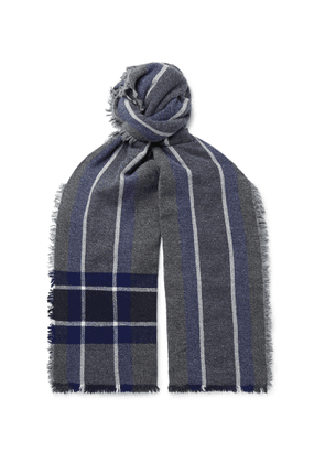 Begg & Co - Beaufort Fringed Checked Wool And Cashmere-blend Scarf - Gray