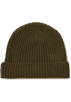 Begg & Co - Colour-block Ribbed Cashmere Beanie - Green
