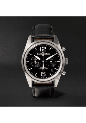 Bell & Ross - BR 126 Automatic Chronograph 41mm Steel and Leather Watch, Ref. No. BRV126-BL-ST/SCA - Men - Black