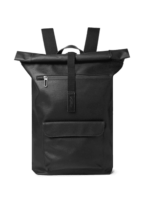Brooks England - Rivington Leather-trimmed Coated Cotton-canvas Backpack - Black