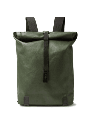 Brooks England - Pickwick Large Leather-Trimmed Coated Cotton-Canvas Backpack - Men - Green