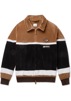Burberry - Logo-appliquéd Cotton-blend Velour Track Jacket - Brown