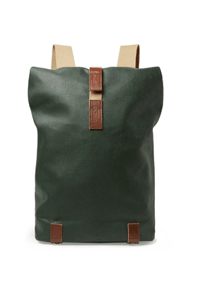 Brooks England - Pickwick Small Leather-trimmed Cotton-canvas Backpack - Green