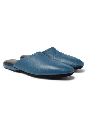Charvet - Textured-leather Slippers - Blue