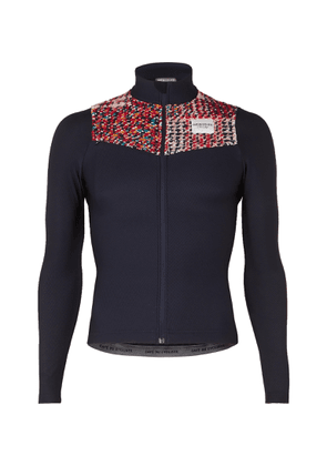 Cafe du Cycliste - Clemence Knitted Panelled Stretch Cycling Jersey - Blue
