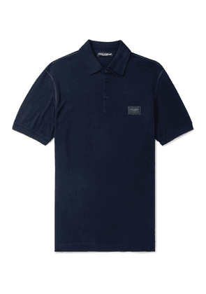 Dolce & Gabbana - Slim-Fit Logo-Appliquéd Cotton-Piqué Polo Shirt - Men - Blue