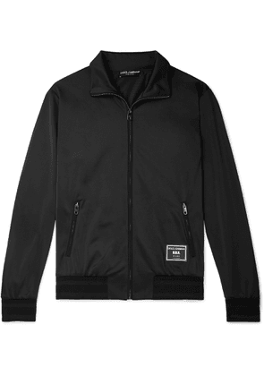 Dolce & Gabbana - Slim-fit Logo-appliquéd Satin-jersey Track Jacket - Black