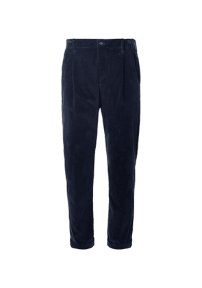 Connolly - Goodwood Tapered Cropped Pleated Cotton-Corduroy Trousers - Men - Blue