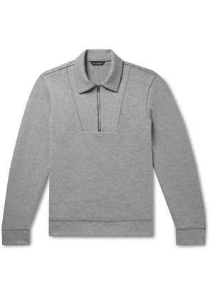 Club Monaco - Mélange Cotton-blend Half-zip Sweatshirt - Gray