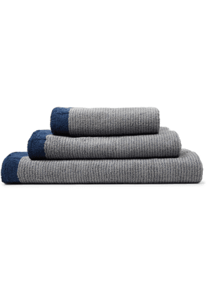 Cleverly Laundry - Set of Three Striped Cotton-Terry Bath Towels - Men - Blue