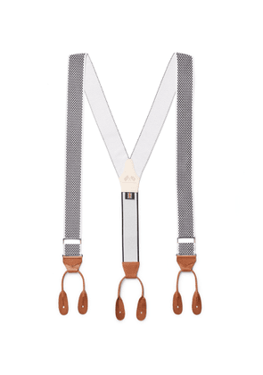 Connolly - Goodwood Leather-Trimmed Checked Stretch-Cotton Braces - Men - Gray