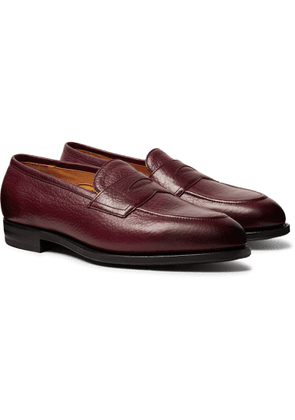 Edward Green - Piccadilly Leather-trimmed Suede Penny Loafers - Burgundy