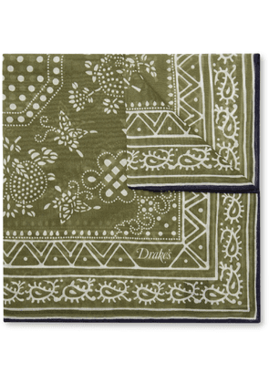 Drake's - Printed Cotton And Silk-blend Pocket Square - Green