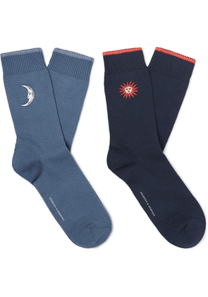 Desmond & Dempsey - Two-pack Embroidered Stretch Cotton-blend Socks - Blue