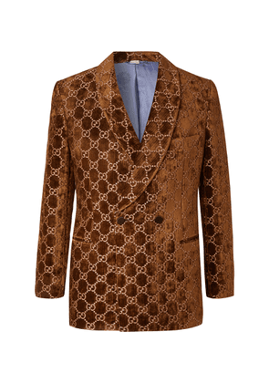 Gucci - Brown Double-breasted Logo-embroidered Velvet Tuxedo Jacket - Brown