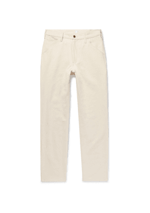 Freemans Sporting Club - Slim-Fit Brushed Cotton-Twill Trousers - Men - Neutrals