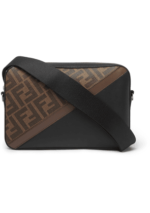 Fendi - Logo-print Coated-canvas And Leather Messenger Bag - Brown