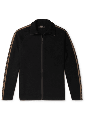 Fendi - Logo-jacquard Wool Zip-up Track Jacket - Black